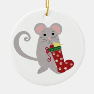 Holiday Mouse with Red Stocking Ceramic Ornament