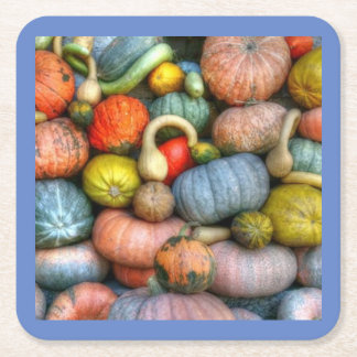 HOLIDAY MULTI COLOR SQUASH PAPER COASTERS. SQUARE PAPER COASTER