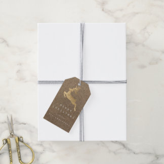 Holiday Natural Paper Kraft Gold Reniadeer Pack Of Gift Tags