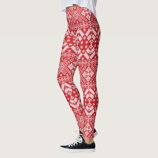 Holiday Nordic Sweater Pattern Leggings