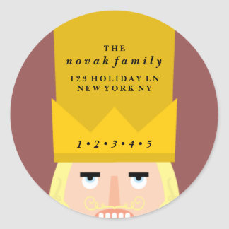 Holiday Nutcracker Address Classic Round Sticker