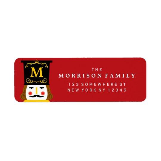 Holiday Nutcracker Monogram Red Return Address Label