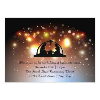Holiday of LIghts Nativity - Christmas Invitation