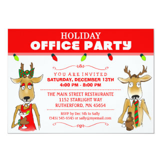 Holiday Office Party Reindeer with Drinks Invite