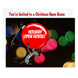 Holiday Open House Christmas Mouse Bokeh Lights Card