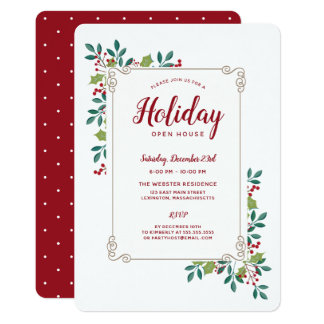 Holiday Open House Festive Floral Frame Card
