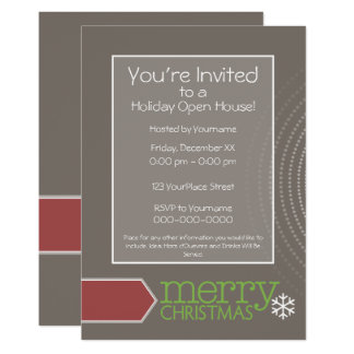 Holiday Open House - Retro Office Card