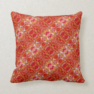 Holiday Orange Abstract Angels Pattern Throw Pillow