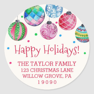 Holiday Ornament Christmas Return Address Classic Round Sticker