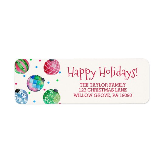 Holiday Ornament Christmas Return Address Label