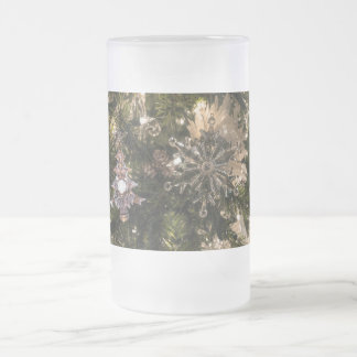 Holiday Ornaments Frosted Glass Beer Mug