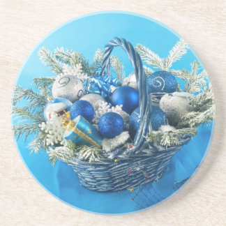 Holiday Ornaments in Blue Basket Coaster