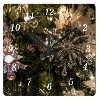 Holiday Ornaments Square Wall Clock
