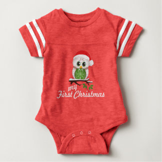 Holiday Owl - Babies First Christmas Baby Bodysuit