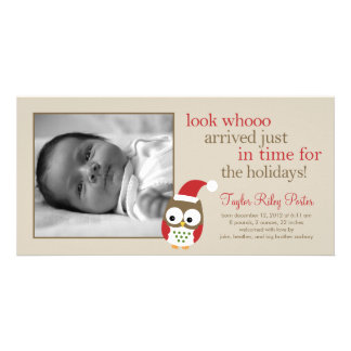 Holiday Owl Baby Birth Announcement Card