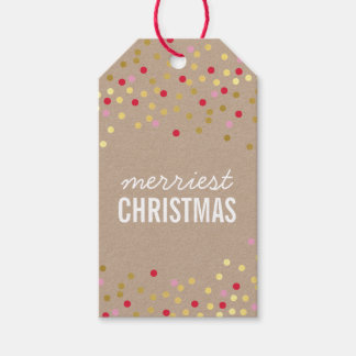 HOLIDAY PACKAGING gold confetti spots red kraft Pack Of Gift Tags