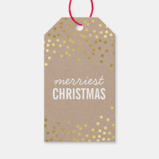 HOLIDAY PACKAGING TAG gold confetti spots kraft Pack Of Gift Tags
