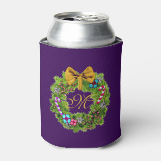 Holiday Painted Christmas Wreath Can Cooler