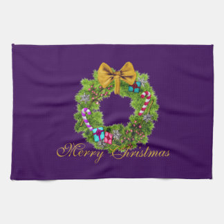 Holiday Painted Christmas Wreath Towel