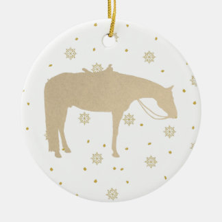Holiday Parchment Gold White Western Horse Ceramic Ornament