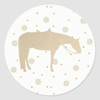 Holiday Parchment Gold White Western Horse Classic Round Sticker