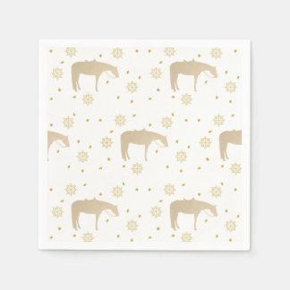 Holiday Parchment Gold White Western Horse Paper Napkin