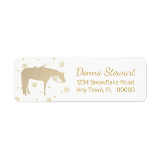 Holiday Parchment Gold White Western Horse Return Address Label