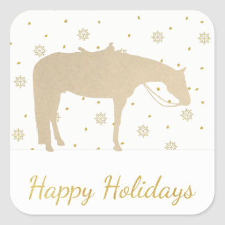 Holiday Parchment Gold White Western Horse Square Sticker