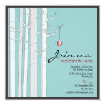 Holiday Party Birch Tree & Red Ornament Invitation