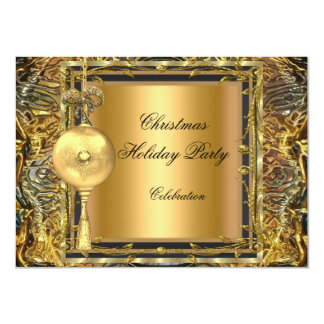 "Holiday Party Christmas Gold Ball Decoration 2 4.5"" X 6.25"" Invitation Card"