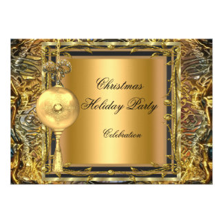 Holiday Party Christmas Gold Ball Decoration 2 Invite