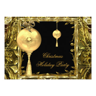 Holiday Party Christmas Gold Ball Decoration 3 Custom Invite