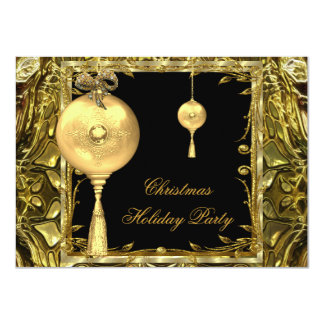 "Holiday Party Christmas Gold Ball Decoration 3 4.5"" X 6.25"" Invitation Card"
