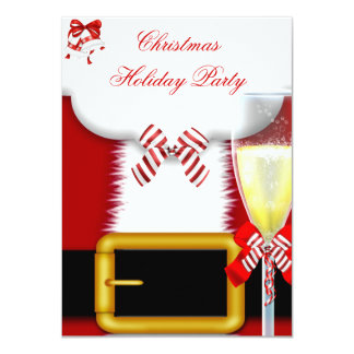"Holiday Party Christmas Santa Suit Champagne 4.5"" X 6.25"" Invitation Card"