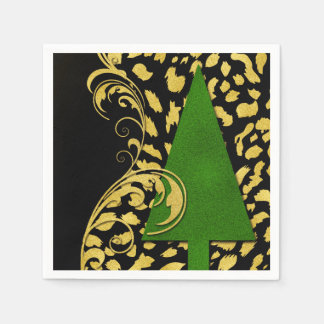 Holiday Party Elegance in Gold Black and Green Napkin