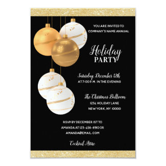 HOLIDAY PARTY GOLD White Corporate Office Company Card