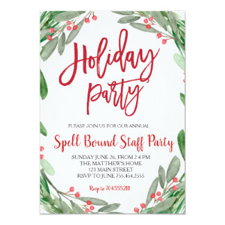 Holiday Party Greenery Wreath Invitation