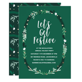 Holiday Party Invitation with Christmas Wreath