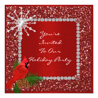 Holiday Party Invitation with CRYSTAL SNOWFLAKE