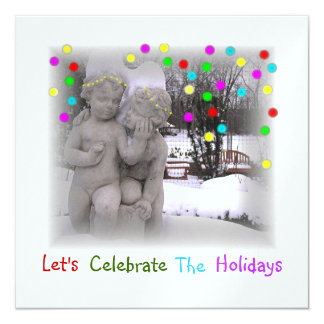 """HOLIDAY PARTY INVITATIONS """"CHERUBS IN SNOWY PARK"""""""