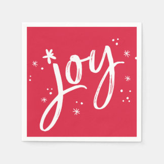 HOLIDAY PARTY joy script red white sparkles Disposable Napkins