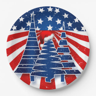 Holiday Party Patriotic Christmas Tree Theme Paper Plate