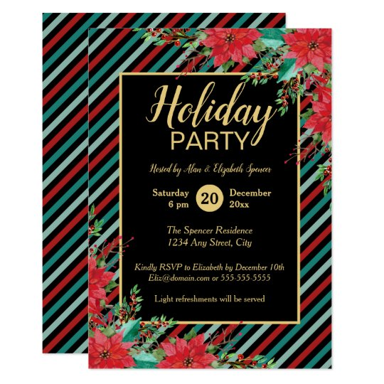 Holiday Party Poinsettia Floral Bold Stripes Card