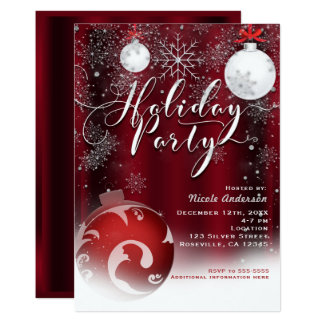 Holiday Party Snowflake Red Silver Ornaments Card