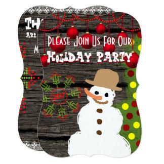 Holiday Party Snowman & Tree Invitation