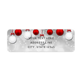 Holiday Party Winter Red White Sparkle Ornaments