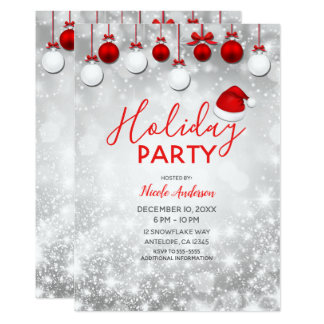 Holiday Party Winter Red White Sparkle Ornaments Card