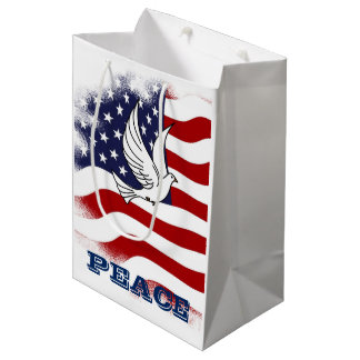 Holiday - Patriotic Stars / Stripes Peace Dove Medium Gift Bag