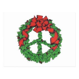 Holiday Peace Wreath Postcard