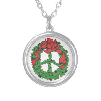 Holiday Peace Wreath Silver Plated Necklace